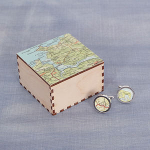 Map Location Cufflinks And Box - cufflinks