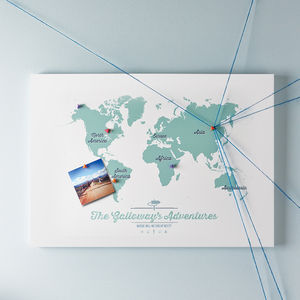 Personalised Map Of The World Pinboard - £50 - £100
