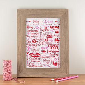 'Being In Love' Typographic Art Print