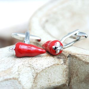 Personalised Red Chilli Cufflinks - men's jewellery