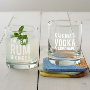 Personalised Mixers Glass - gifts under £25 for him