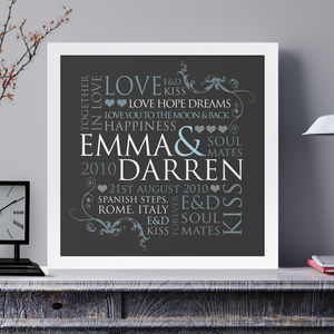 Personalised Couple's Word Design Print - 100 best wedding prints