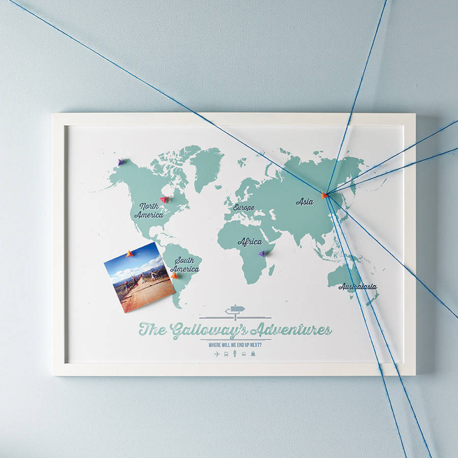 personalised world travel map by maps international – Framed World Travel Map