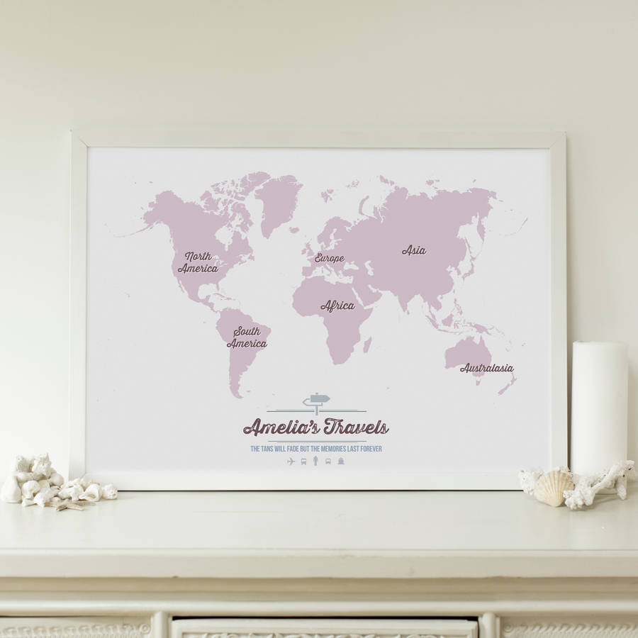 personalised world travel map by maps international – Personalized World Traveler Map Framed