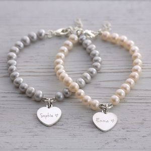 Personalised Heart Pearl Bracelets - gifts for sisters