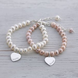 Girls Personalised Pearl And Silver Heart Bracelet - personalised