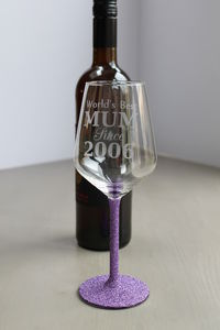 'World's Best Mum…' Personalised Glittered Wine Glass