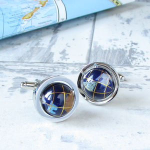 Gemstone Globe Cufflinks - frequent travellers