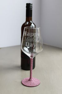 'Happy Mother's Day' Personalised Glittered Wine Glass