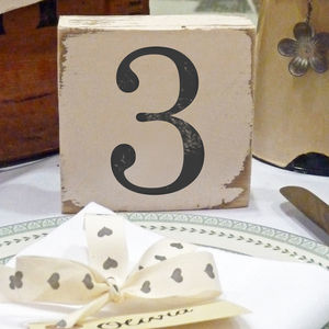 Vintage Style Table Number Blocks - signs