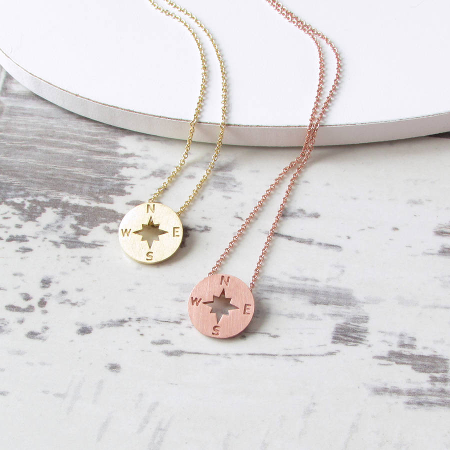 pendant rose happiness necklaces en boutique gold compass necklace