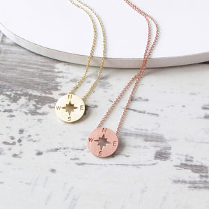 Homeward Bound Mini Compass Necklace - frequent traveller