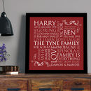 black framed print in red