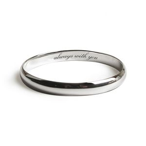 Always With You Silver Message Bangle - wedding fashion
