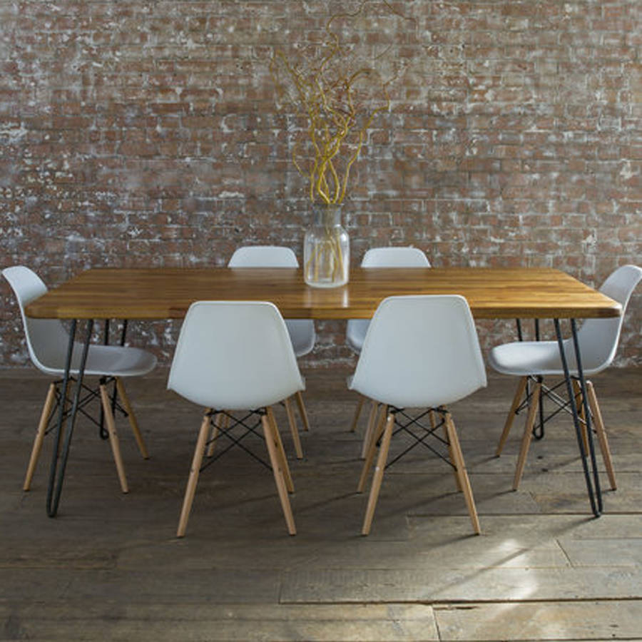 Iroko Midcentury Modern Hairpin Leg Dining Table By Biggs