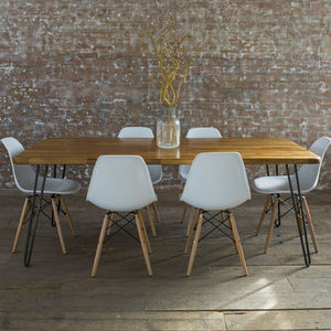 Iroko Midcentury Modern Hairpin Leg Dining Table - dining tables