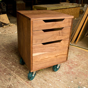 Walnut Chest Of Drawers On Castors - chests of drawers