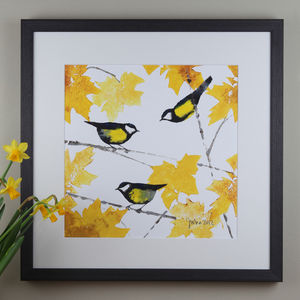 Garden Birds, Great Tits Painting - canvas prints & art