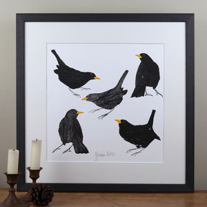 Garden Birds, Blackbirds Painting - canvas prints & art