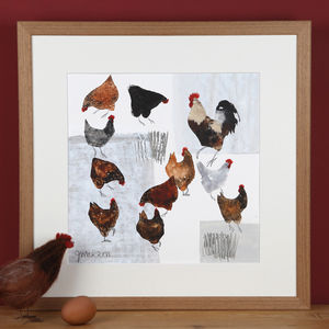 Farmyard Birds, Cockerel And Hens Painting - canvas prints & art
