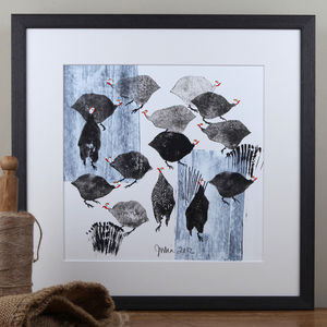 Farmyard Birds, Guinea Fowl Painting - best of contemporary art