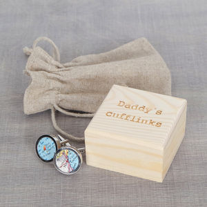 Map Location Cufflinks And Engraved Box - men's jewellery & cufflinks