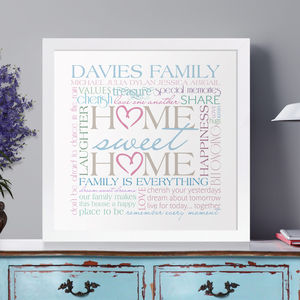 Personalised Family 'Home Sweet Home' Art