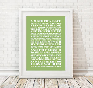 A Mothers Love Poem Print
