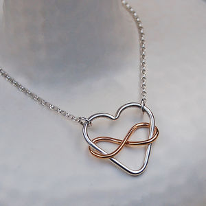 Infinite Love Silver And Gold Fill Heart Necklace - necklaces & pendants