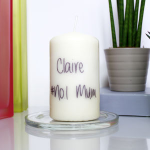 Personalised '#No.One Mum' Patterned Candle