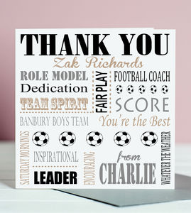 Thank You Football Coach Card - thank you cards