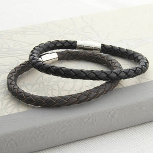 Men's Plaited Leather Bracelet - men's jewellery