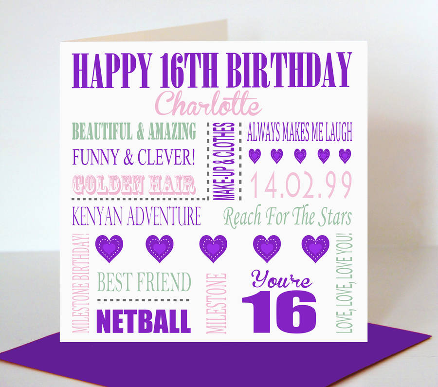 16th birthday card for her by lisa marie designs – Birthday Cards Her
