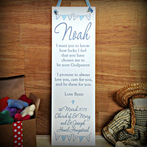 Christening Gift Personalised Plaque Sign
