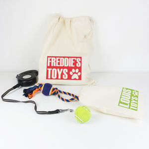 Personalised Pet 'Name' Draw Cord Toy Bag - dog toys