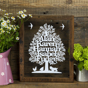 Family Tree Personalised Papercut - family tree gifts