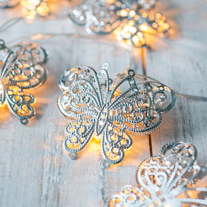 Silver Butterfly Fairy Lights - occasional supplies
