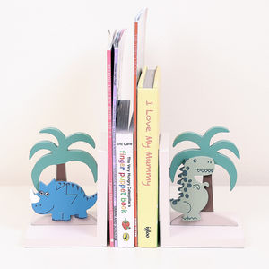 Wooden Rory And Spike Dinosaur Bookends - bookends
