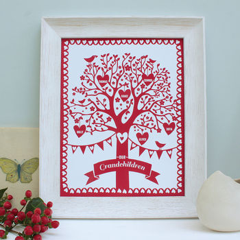 Personalised family tree print, red print