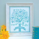 Personalised family tree framed print, blue