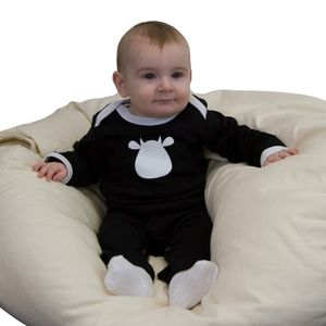 Black Organic Long Sleeve Top With Cow Applique - clothing