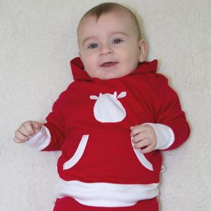 Long Sleeve Hoodie With Cow Applique - babies' jumpers