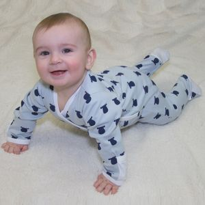 Kimono Footed Romper With Solid Cow Pattern - clothing