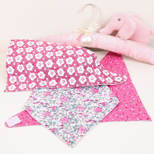 Set Of Three Summer Floral Garden Dribble Bibs