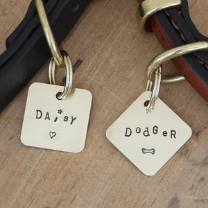 Wonky Dog Name Tag, Square Or Diamond