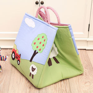 Embroidered Farmyard Quilted Toy Storage Bag - baby's room