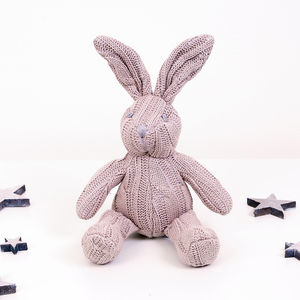 Belle The Bunny Knitted Cable Knit Rattle - baby toys