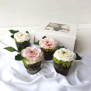 Four Scented Silk Cupcake Roses - home accessories