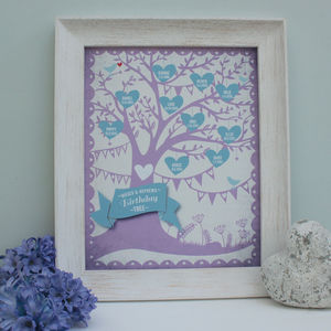 Personalised Birthday Tree Framed Print