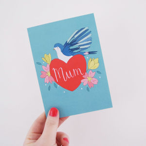 Mum Bluebird + Heart Lettering Card